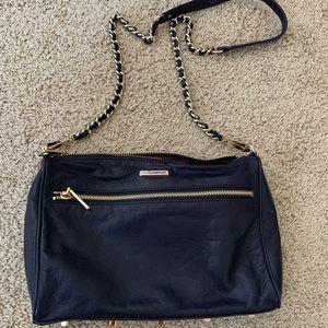Rebecca minkoff chain  triple zip navy leather